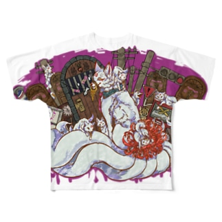 鍵隠し狐 Full graphic T-shirts