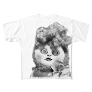 リーゼン妖子のフルグラフィックTシャツ〜白黒バージョン〜 Full graphic T-shirts