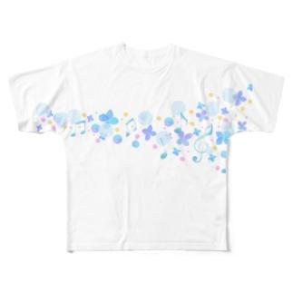 音符のライン Full graphic T-shirts