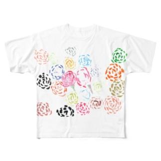 虹色のばら Full graphic T-shirts
