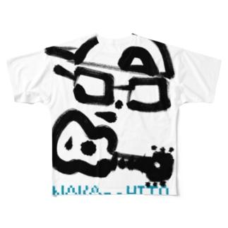 中の人(Black&Turquoise) Full graphic T-shirts