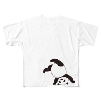 逆立ちパンダ Full graphic T-shirts