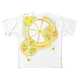 フレッシュオレンジ Full graphic T-shirts