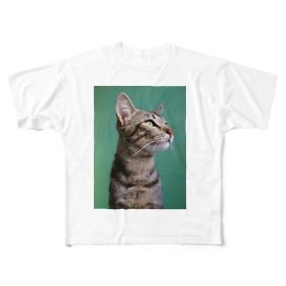 PriscilaGlassesの愛猫 タビー Full graphic T-shirts