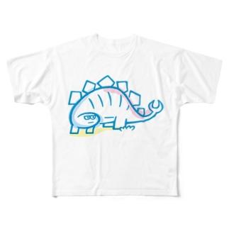 久保誠二郎 オフィシャルグッズのステゴザウルス Full graphic T-shirts