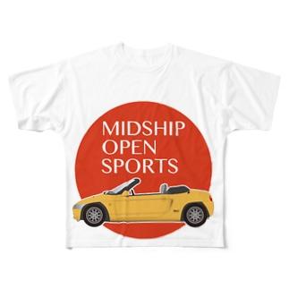 黄色いオープンカー Full graphic T-shirts