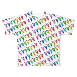 メロンクリームソーダなアロハ風シャツ Full graphic T-shirts