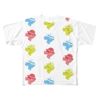 たこと麦わら帽子 Full graphic T-shirts