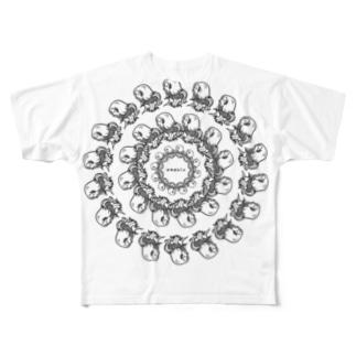アマビエ_ぐるぐる Full graphic T-shirts