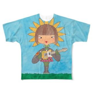 花子と根子(はなことねっこ)/ヒマワリ Full graphic T-shirts
