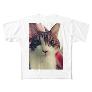 シンプルショップの猫。コタロくん。 Full graphic T-shirts