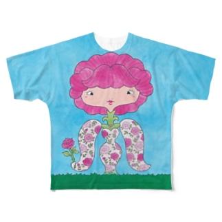 花子と根子(はなことねっこ)/バラ Full graphic T-shirts