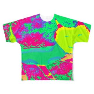 ドット絵 猫マン2 Full graphic T-shirts