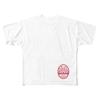 丸窓ぽんてSUZURI支店の丸窓ぽんて楕円ロゴ Full graphic T-shirts