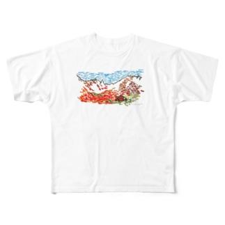 紅葉の涸沢 ドライTシャツ Full graphic T-shirts