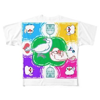 TsukiIchiYarukiのスプラッシュ文鳥 Full graphic T-shirts