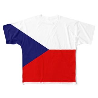 カマラオンテのチェコ共和国  チェコの国旗 Full graphic T-shirts