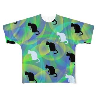 ニャムのアトリエのNEKOZE柄もん Full graphic T-shirts