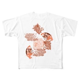 yuruholismの和柄 和風 花柄 赤色 朱色 シック Full graphic T-shirts