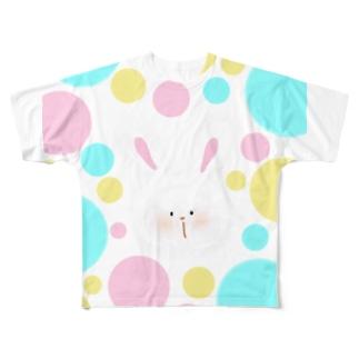 PUCA𓅹PUCA (すぽんじ)のうさぎちゃんと水玉 Full graphic T-shirts