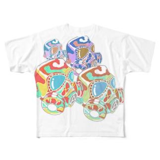 ガスマスクの群れ Full graphic T-shirts