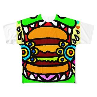 dorihopuのおっきいバーガー食べちゃうぞ Full graphic T-shirts