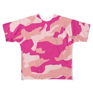 ttyarswのピンクカモフラ Full graphic T-shirts