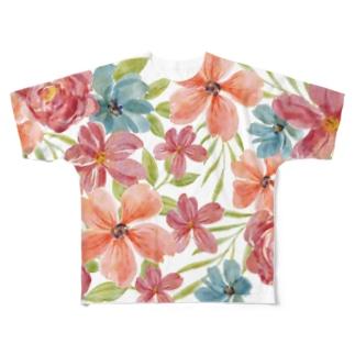 ttyarswのフラワー Full graphic T-shirts