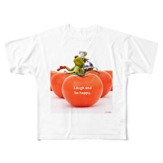 y's papa ハッピーフロッグ Full graphic T-shirts