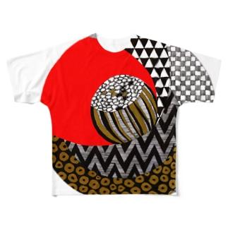 garellynaruの柄椿1 Full graphic T-shirts