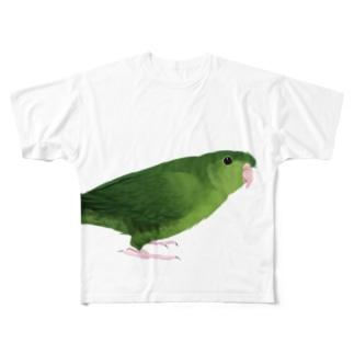 サザナミインコ グリーン【まめるりはことり】 Full graphic T-shirts