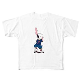 ウサギ ダーク サッカーユニフォーム Full graphic T-shirts
