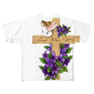 十字架にちょこんと天使ちゃん Full graphic T-shirts
