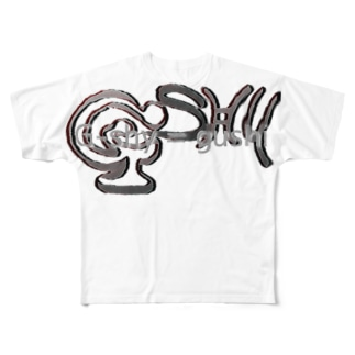 G-shyのLOGO(how to say) Full graphic T-shirts