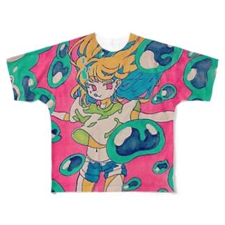 ぷくぷく泡ビビッター Full graphic T-shirts