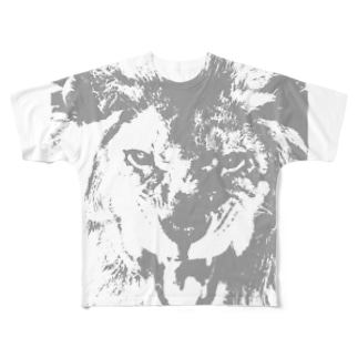 ライオン2値画イラスト Full graphic T-shirts