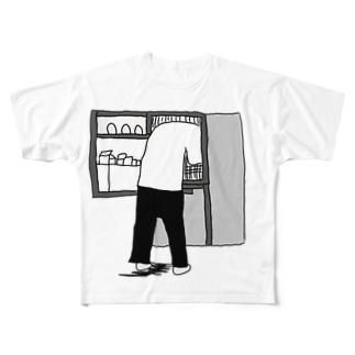 冷蔵庫を漁る人 Full graphic T-shirts