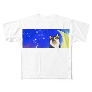 (黒柴)うちのわんこchanシリーズ 月と星 横長  Full graphic T-shirts