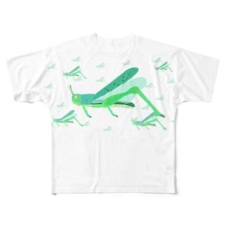 サバクトビバッタ 孤独相 群体・蝗害  Full graphic T-shirts