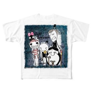 こむにゅのアパートメントの幽霊紳士たち Full graphic T-shirts