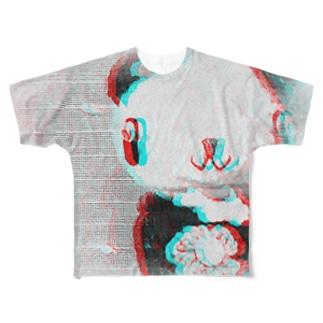 フラワーパンダ Full graphic T-shirts