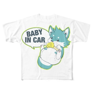 やんさんの赤ちゃんオオカミ乗ってます! Full graphic T-shirts
