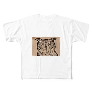 まじんさん@lineスタンプの筆ペンフクロウ Full graphic T-shirts