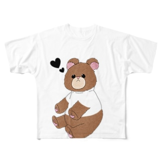 🧸ホワイトくまちゃん🧸 Full graphic T-shirts