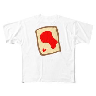 いちごジャムトースト Full graphic T-shirts