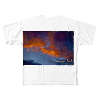 fechi47clubのオレンジ雲 Full graphic T-shirts