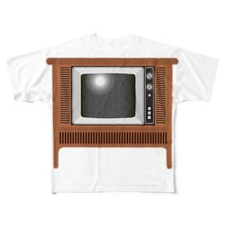 illust_designs_labのレトロでリアルなオーディオテレビのイラスト 砂嵐ノイズの画面 脚付き  Full graphic T-shirts