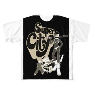 super  city ネガ Full graphic T-shirts