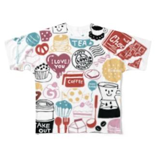 にぎやかカラフルはんこ Full graphic T-shirts