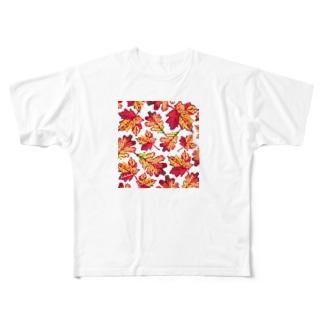 紅葉 手刺繍風 ドライTシャツ Full graphic T-shirts